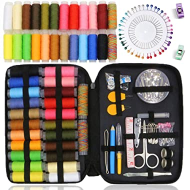 Sewing Kit BoChang - Over 130 DIY Premium Sewing Supplies, Zipper Portable & Complete Mini Sew Kit for Traveller, Adults, Beginner, Emergency - Filled with Mending Supplies and Sewing Accessories