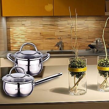 Bergner Q1263 BATERIA Cocina, Acero Inoxidable 18/10, 304 S/S, 8p: Amazon.es: Hogar