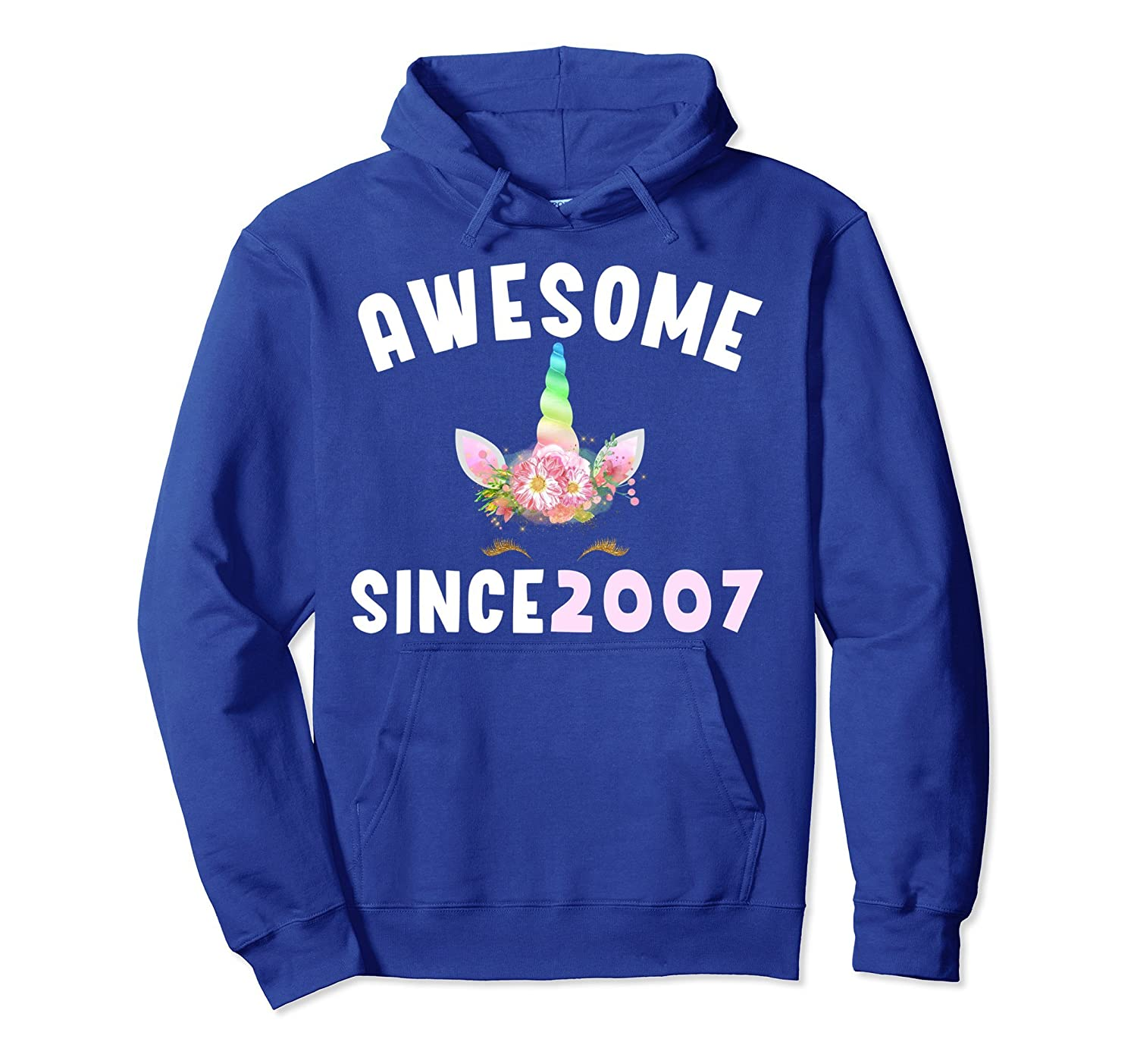 Awesome Unicorn 2007 Birthday BDay Girls Outfit Hoodie Shirt-mt