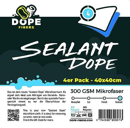 Dope Fibers Polish Dope Sealent Poliertücher 4er Set 40x40cm 250 Gsm Blau Auto