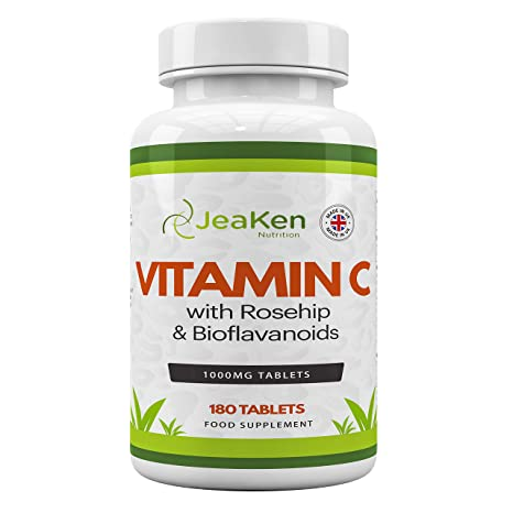 VITAMINA C 1000 mg Por JeaKen - 180 tabletas veganas Enriquecidas con rosa mosqueta y bioflavonoides