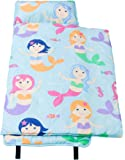 Nap Mat Olive Kids by Wildkin Microfiber Children's Nap Mat with Built in Blanket and Pillowcase, Pillow Insert Included, 100% Microfiber, Children Ages 3-7 years – Mermaids