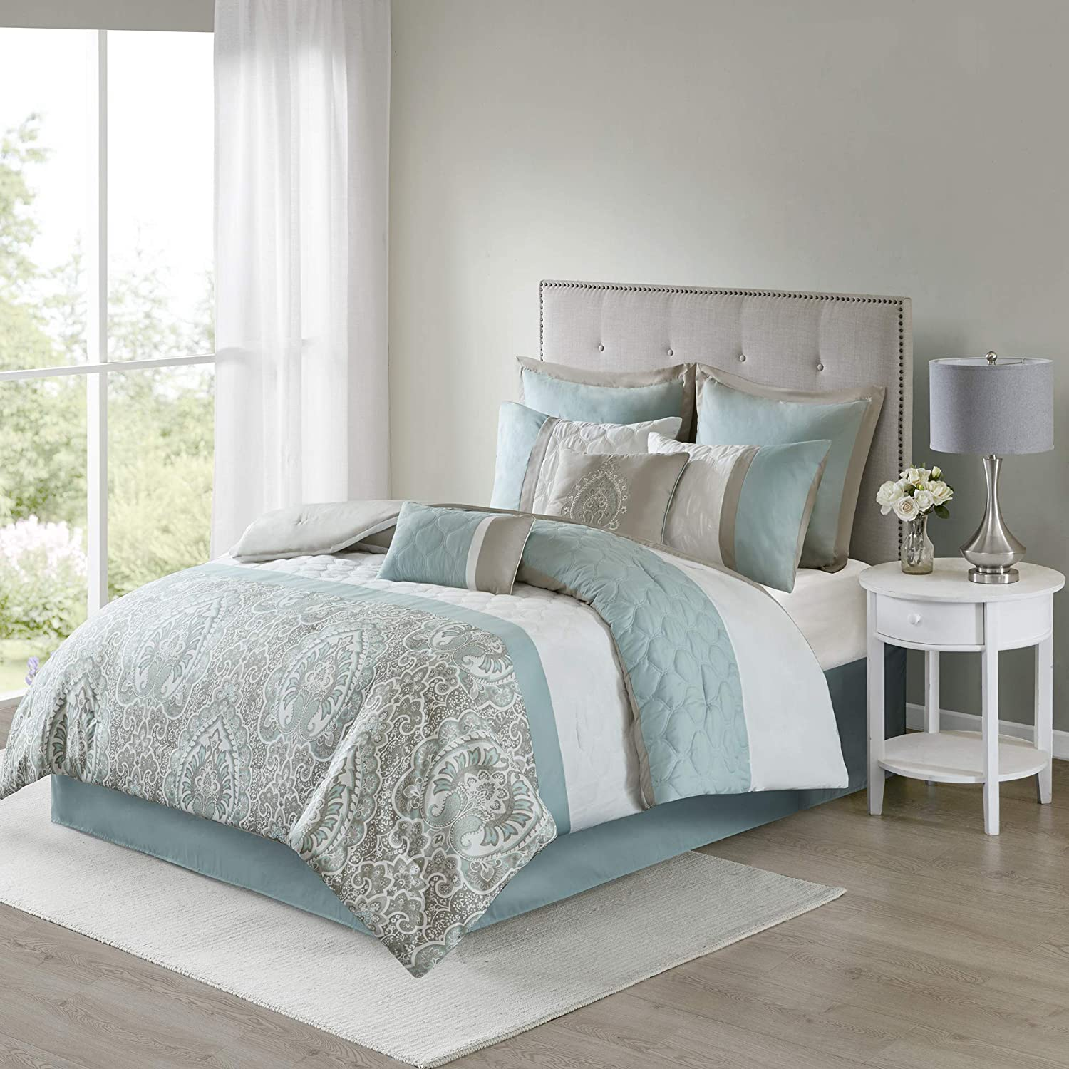 510 DESIGN Shawnee Comforter Reversible Solid Floral Flower Damask Print Pieced Quilted Stripes Embroidered Ultra Soft Down Alternative Hypoallergenic All Season Bedding-Set, Cal King, Seafoam
