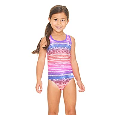2496e5fcf98 Zoggs Girls' Ikat Actionback Swimsuit, Pink/Multi-Colour, ...