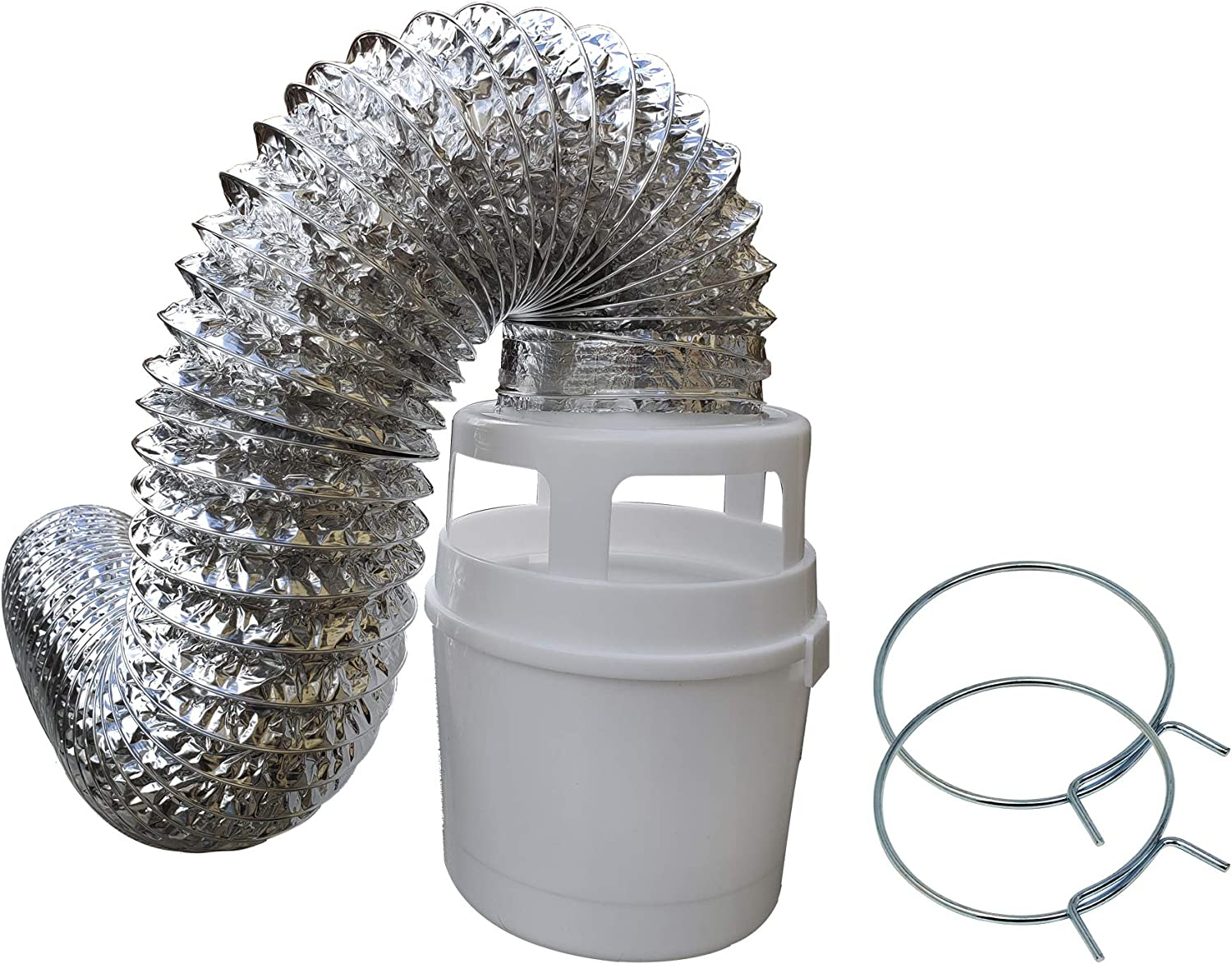 Raven Indoor Dryer Vent Kit with Lint Trap Bucket and 4 feet Flexible Aluminum Foil Duct TDIDVKZW 211L