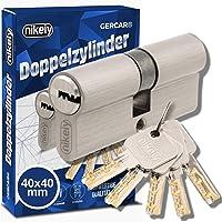 GERCAR Pro 80 mm cilinder profielcilinder 40/40 massieve dubbele cilinder cilinderslot deurslot - van messing vernikkeld…