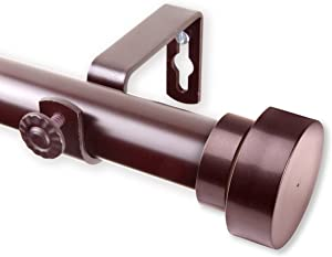 "Rod Desyne Bonnet 1"" OD 160-240 inch-Mahogany Single Curtain Rod Set, 160-240"""