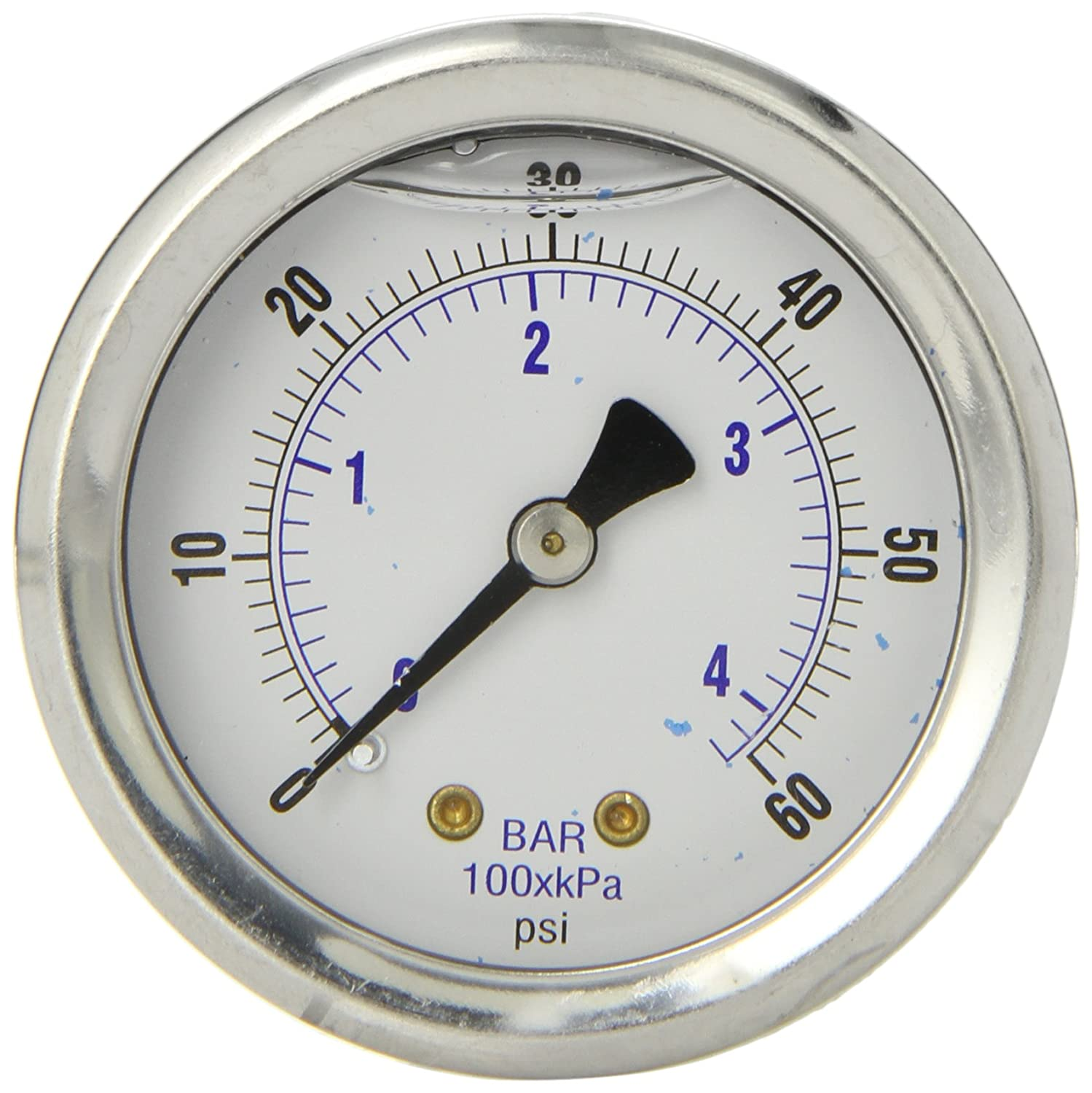PIC Gauge 202L 204D 2 Dial 0 60 psi Range 1 4 Male NPT Connection Size Center Back Mount Glycerine Filled Pressure Gauge with a Stainless Steel Case Brass Internals Stainless Steel Bezel and Polycarbonate Lens
