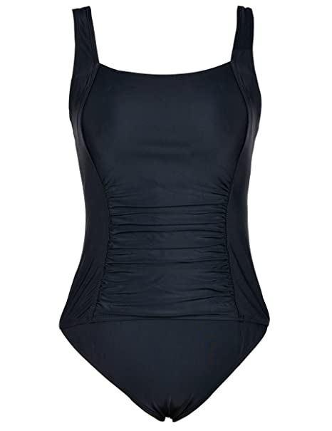 d683fa4cfbe5f Firpearl Women's Black One Piece Bathing Suit Ruched Tummy Control ...