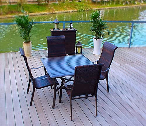 Pebble Lane Living All Weather Rust Proof Indoor Outdoor Premium 5 Piece Cast Aluminum Patio Dining Set, 1 Slat Top Dining Table with Umbrella Hole 4 Wicker Dining Chairs, Brown