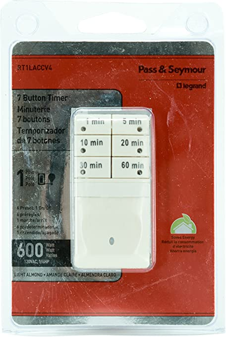 Pass and Seymour RT1-BKCC4 black pushbutton timer six times selection 0-600w T