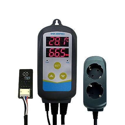 Inkbird IHC-230 Doble Rele 220v Humidistato y Termostato con Sonda, Controlador Temperatura y