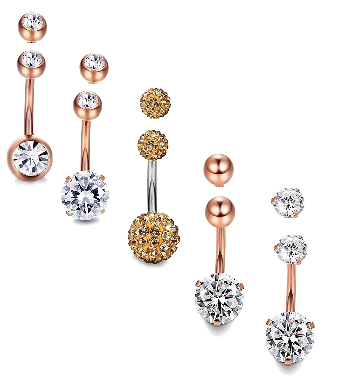 Milacolato 10PCS 14G Stainless Steel Belly Button Rings for Womens Girls Navel Rings Crystal CZ Ball Body Piercing 10pcs Replacement Balls QT-L-P0003-C