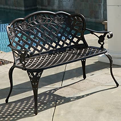 Bon Belleze Outdoor Aluminum Cast Garden Bench Backyard Antique Patio Porch  Furniture, Bronze