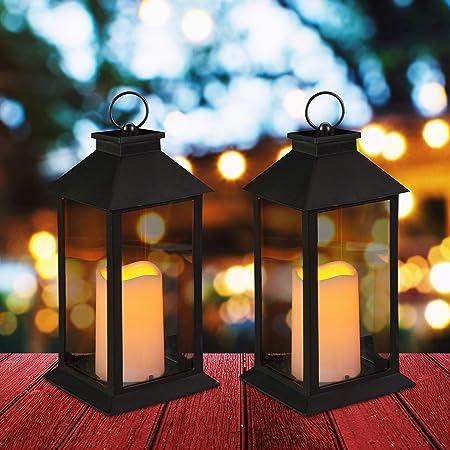 Relaxdays Set de Dos faroles LED de jardín, Vela con Efecto de Llama, Iluminación de Exterior, Colgante o de pie, 30 cm, Negro: Amazon.es: Hogar