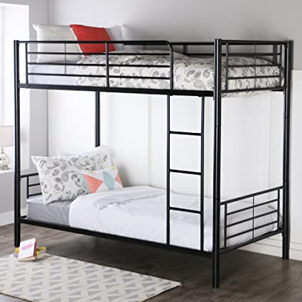 Amazon.com: Walker Edison Twin-Over-Twin Metal Bunk Bed, Black ...