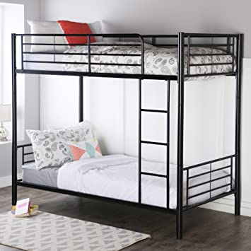 Walker Edison Twin Over Metal Bunk Bed Black