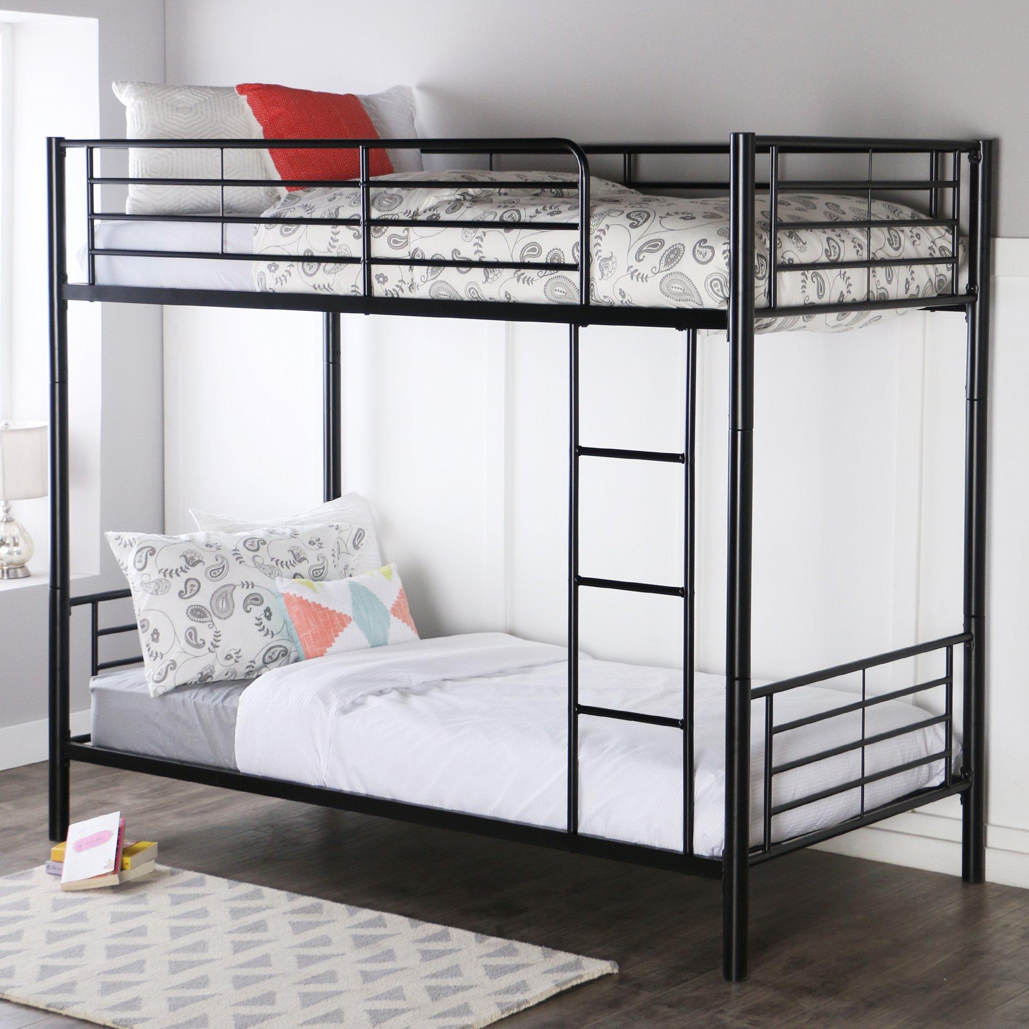 Walker Edison Twin-Over-Twin Metal Bunk Bed, Black by Walker Edison Furniture Company