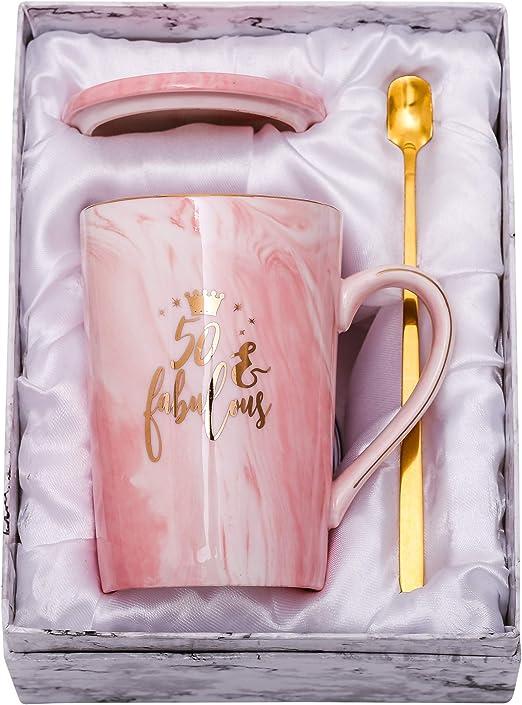 Amazon Com Shinnywis 50 And Fabulous Mug 50th Birthday Gifts For Women 50th Anniversary Gift Idea For Women Her Wife Mom Grandma Sister Bff Friend 14oz Birthday Mug Kitchen Dining