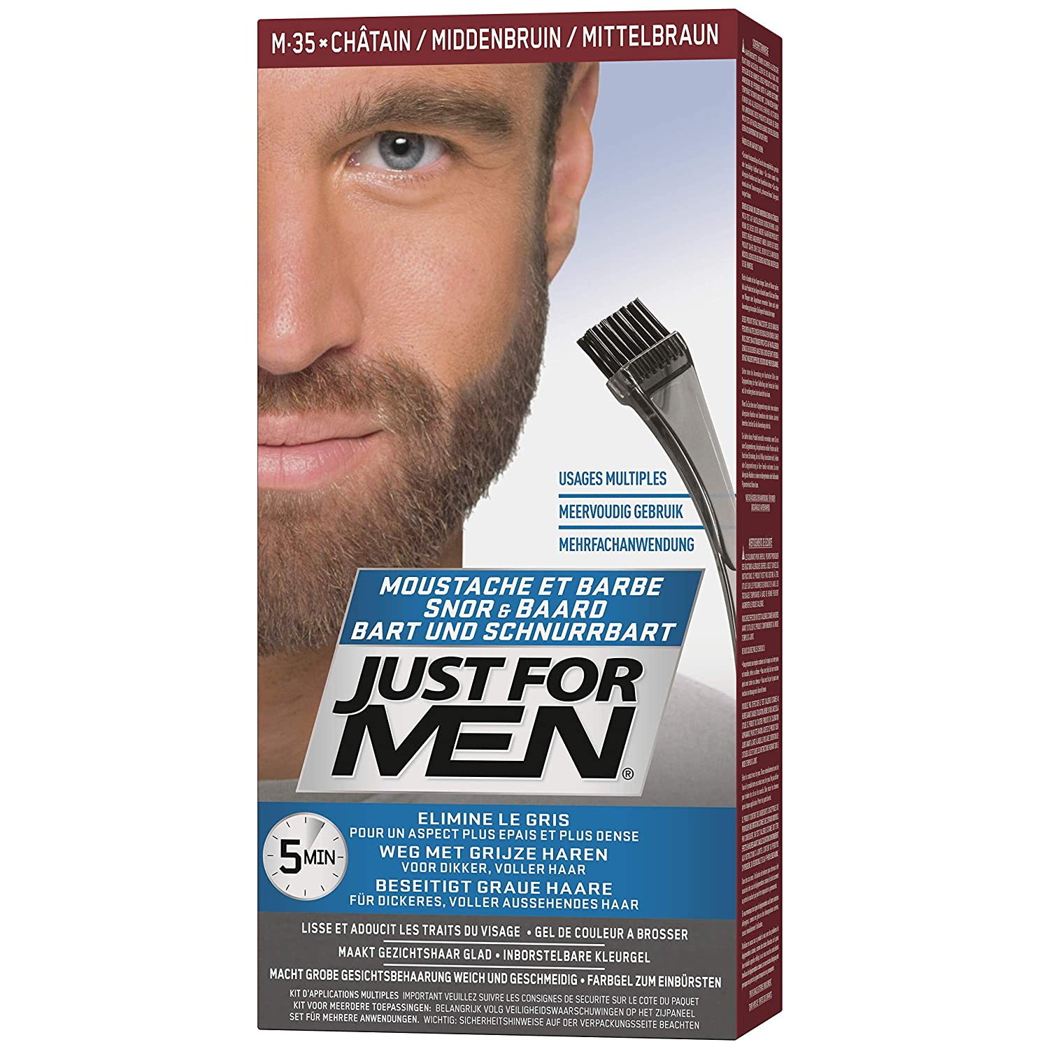 Just For Men - M35 - Moustache and Beard Facial Hair Color - Medium ...