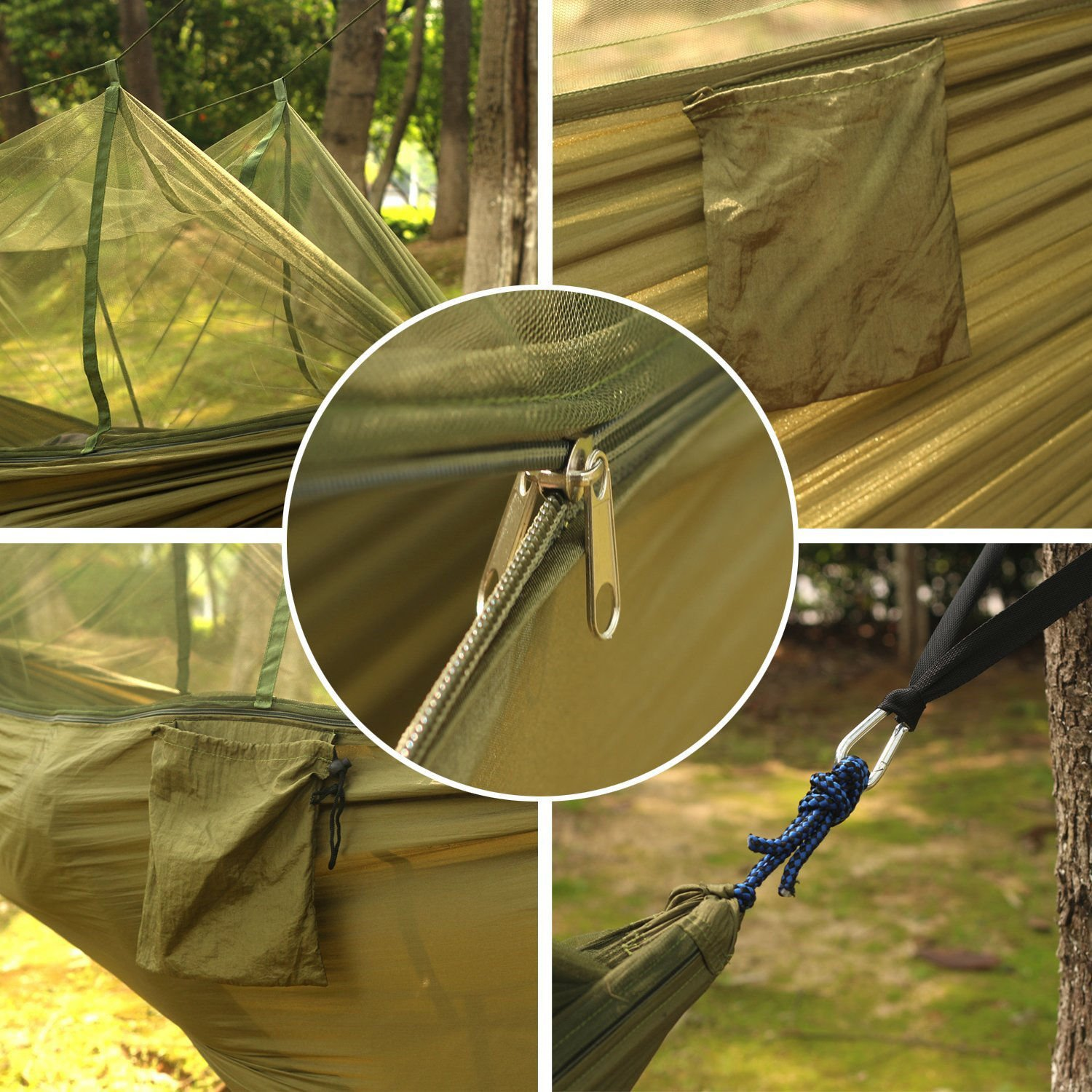LOONFREE Camping Hammock with Mosquito Net - 2 Person Portable High Strength Outdoor Travel Hammock for Camping Hiking Backpacking (With One Free Compass Wrist)
