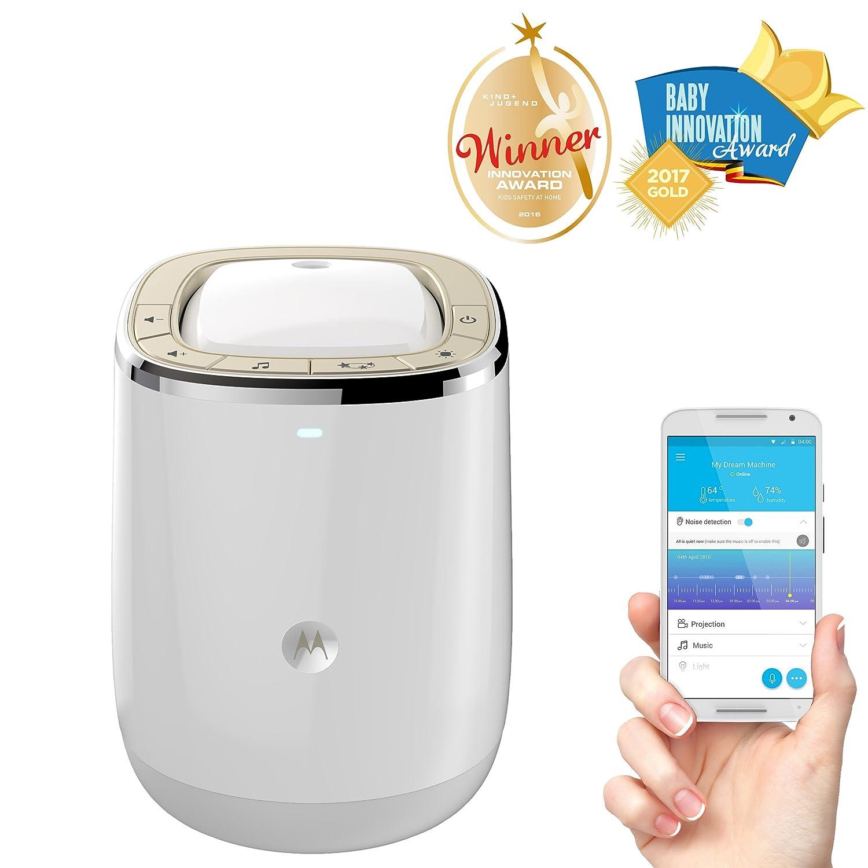 color blanco Motorola Smart Nursery Dream Machine Vigilabeb/és audio Wi-Fi y proyector de luces y sonidos con control de temperatura y humedad