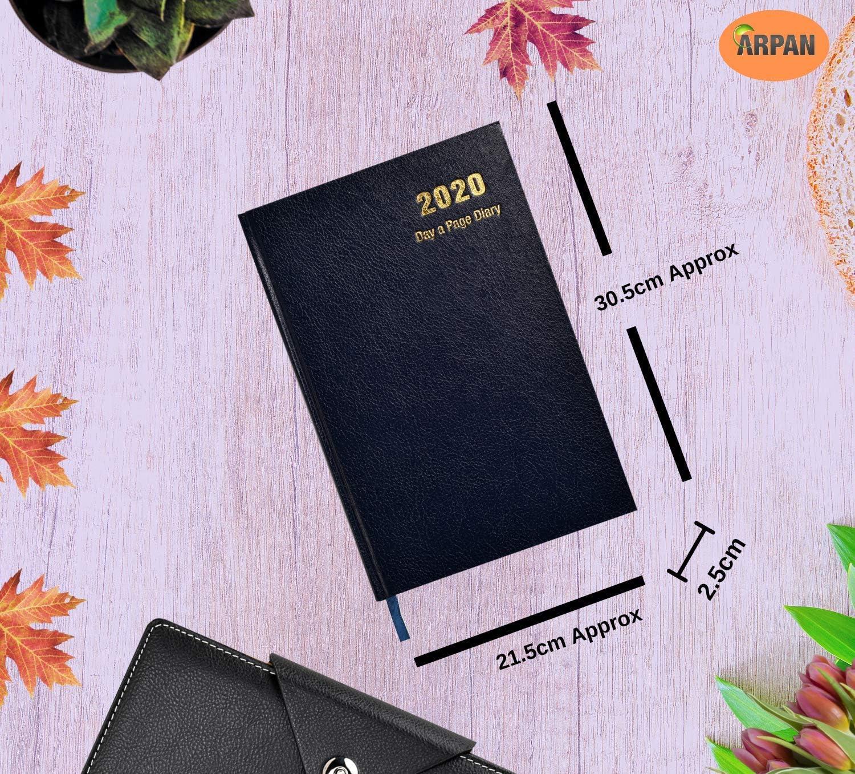 ufficio copertina rigida e nastro segnalibro casa viaggi colore nero organizzazione e appuntamenti Agenda 2020 giornaliera formato A4 lingua italiana non garantita planner annuale per affari