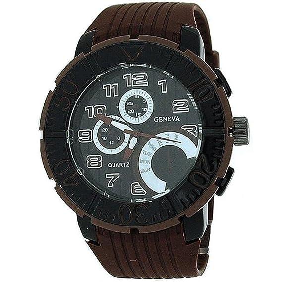 Geneva BM1008 - Reloj, correa de caucho color marrón