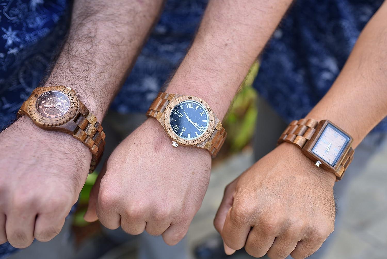 Amazon.com: Wooden Watch for Men - Koa Wood/Sapphire Crystal Dial Window/Wood Watch Band/Analog Citizen Movement: Watches