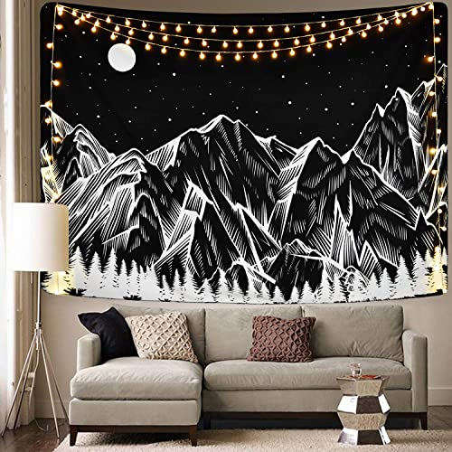 Mountain Tapestry Moon Star Tapestry Starry Night Sky Tapestry Mountains Forest Tree Tapestries for Room