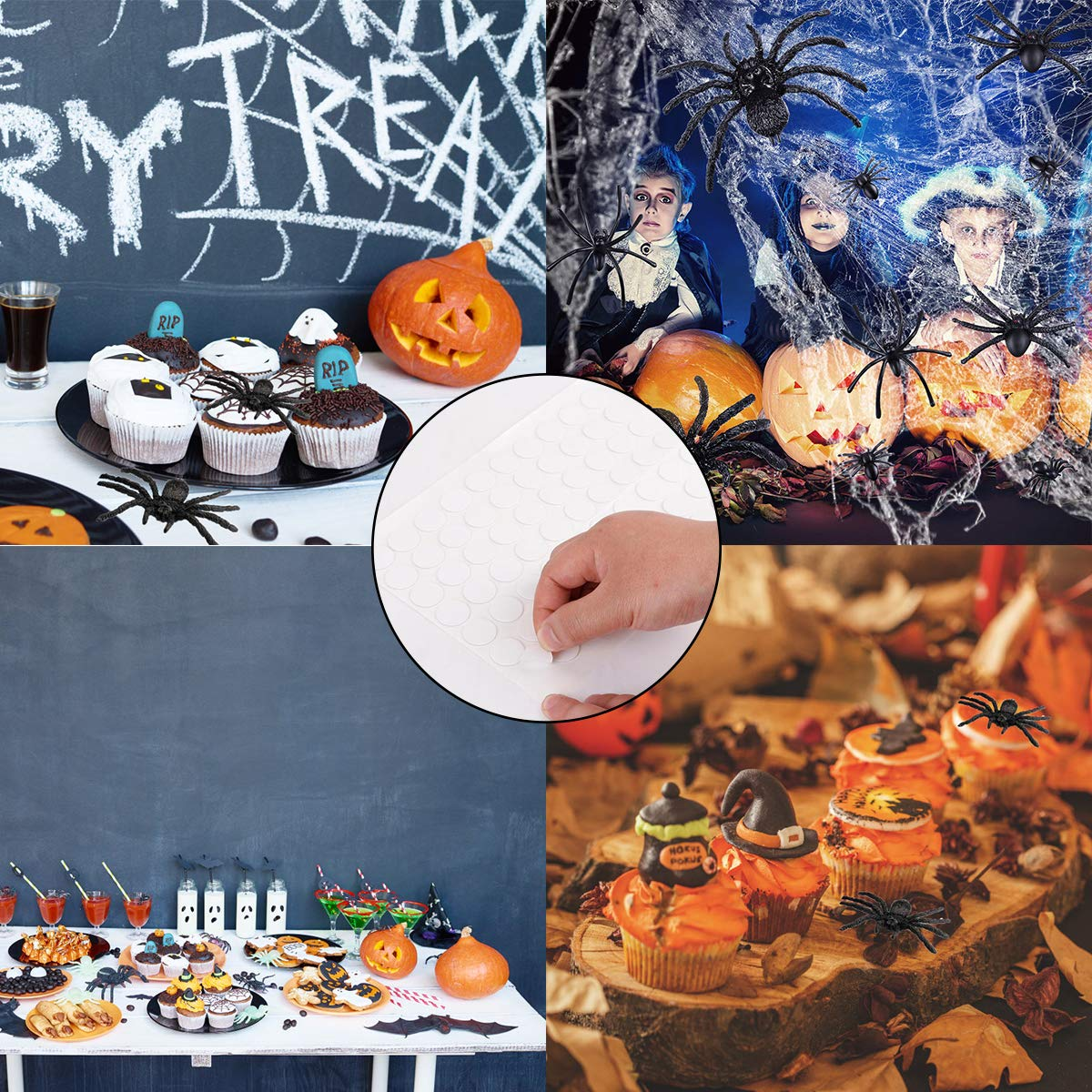 71 PCS Halloween Fake Spider Decorations Set, Halloween Prank Props, 70 pcs Fake Plastic Spiders in Different Sizes and 100 pcs of Glue Easy to Paste to Walls, Tables, Best for Halloween Decorations