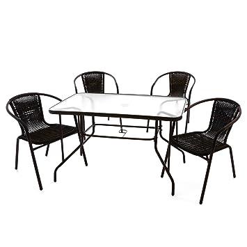 Nexos 5 Teiliges Gartenmöbel Set U2013 Gartengarnitur Sitzgruppe Sitzgarnitur  Aus Bistrostühlen U0026 Esstisch U2013