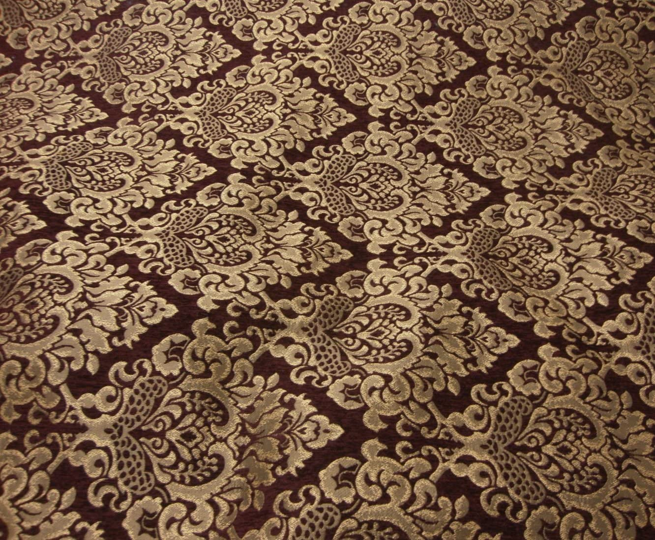 Vintage Speckled Wine Chenille Home Dec Upholstery Fabric 26 X 44 Inches