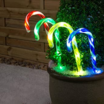 Christmas Candy Cane Pathway Lights Outdoor Garden Decorations 4 Set