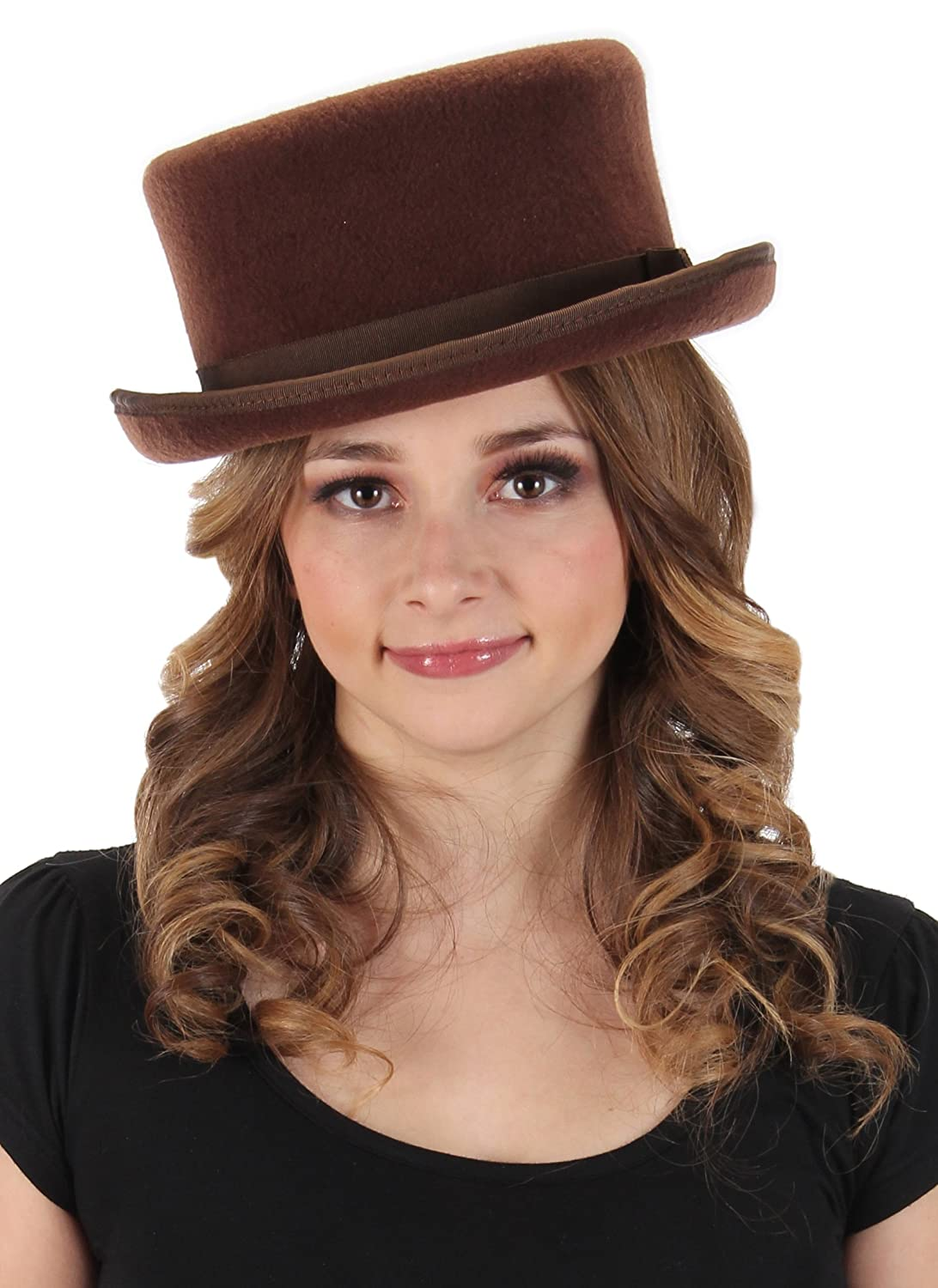 Victorian Hat History | Bonnets, Hats, Caps 1830-1890s Elope John Bull Low Steampunk Top Hat in Brown $35.25 AT vintagedancer.com