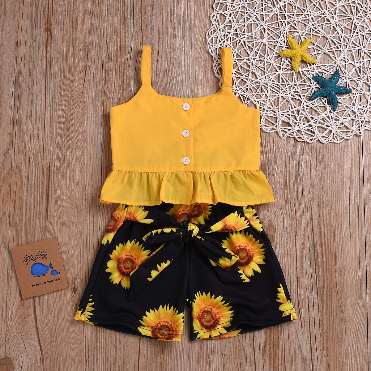 Floral Short Ruffle Off The Shoulder Summer Clothes 2Pcs Toddler Baby Girls Kids Outfit Sets Floral Tops with Strap