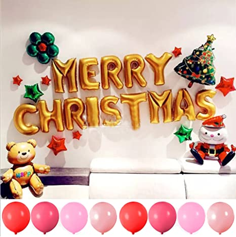 horbous christmas balloon decoration set merry christmas banner balloon 100pcs latex balloons christmas tree father christmas