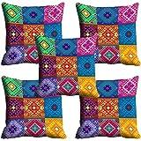 "meSleep Geometric 5 Piece Satin Ethnic Cushion Cover - 16""x16"", Multicolour"