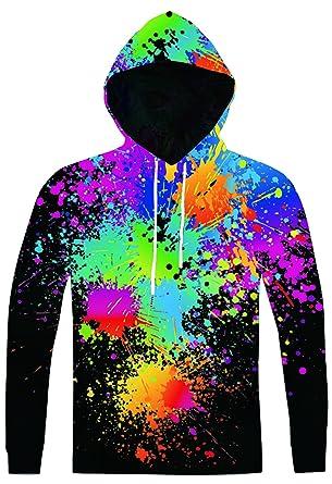 Pizoff Unisex Hip Hop Sweatshirts druck Kapuzenpuli Kapuzenpullover mit  Farbkleks 3D Digital Print, AC020-