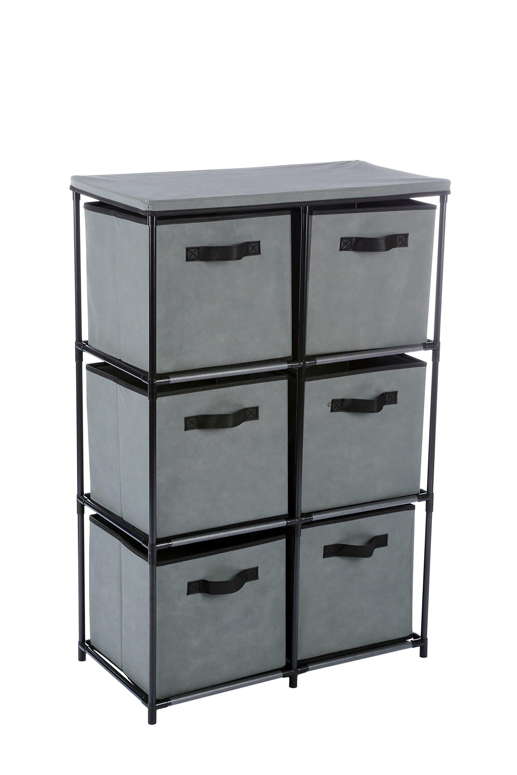 Homebi 6-Drawer Storage Chest Shelf Unit Storage Cabinet Multi-Bin Organizer with Removable Non-woven Fabric Bins in Grey,25''W x 13.2''D x38.0''H