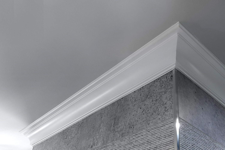 Cornisa//Moldura decorativa techo blanca NMC NOMASTYL/® B5 50X50X2000mm Poliestireno 10 metros