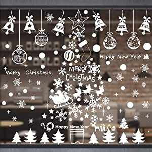 Danvren Window Clings Christmas Decorations Clearance White Snowflake Christmas Tree Jingling Bell Stickers for Winter Wonderland Decor Xmas Party Supplies (6 Sheets)