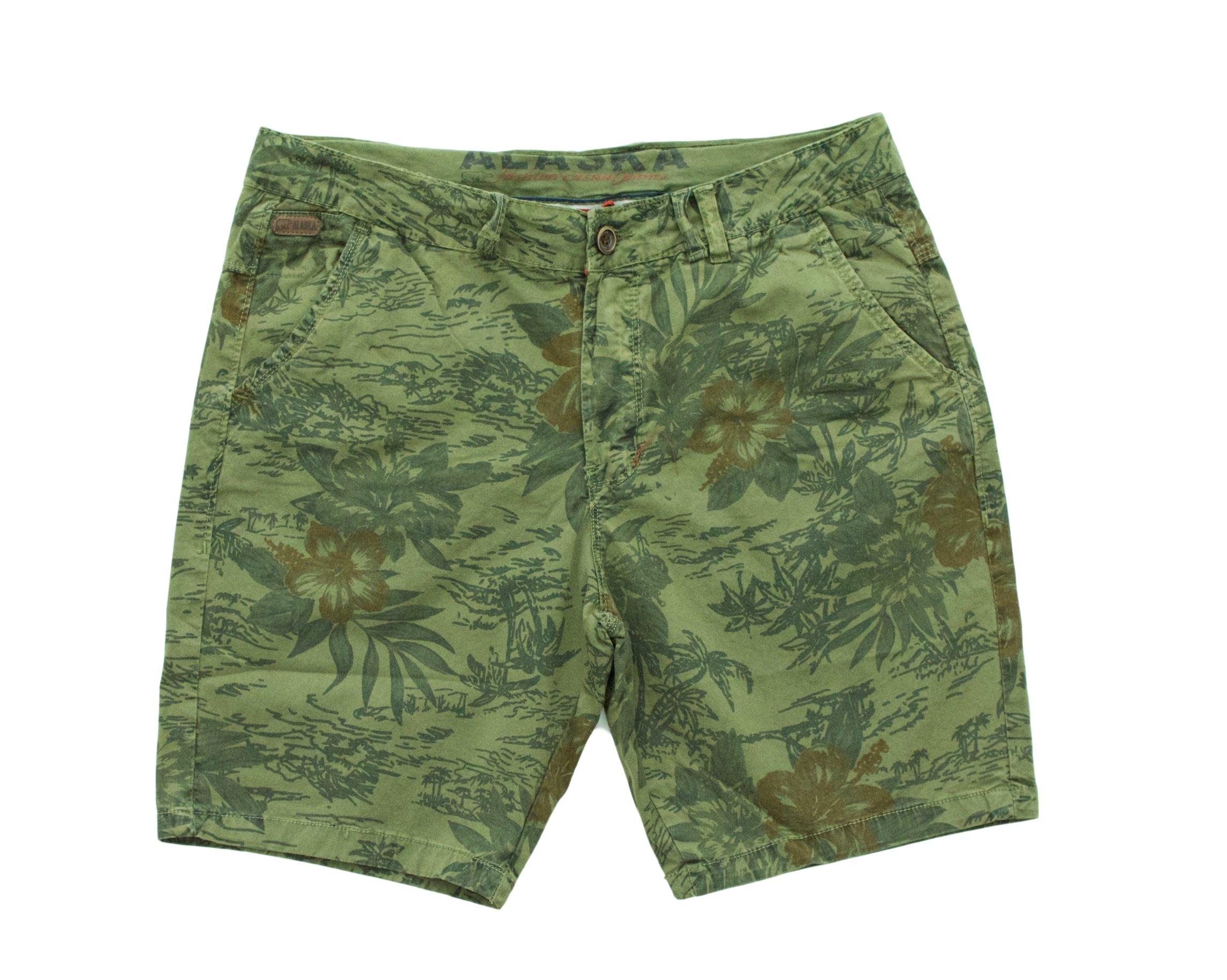Alaska Mens Hawaiian print walking shorts with stretch (831 Army, 36)