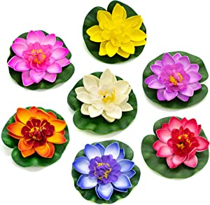 """AUEAR, 6 Pack Artificial Floating Foam Lotus Flowers Water Lily Pond Plants Home Garden Decoration 4"""" Dia"""