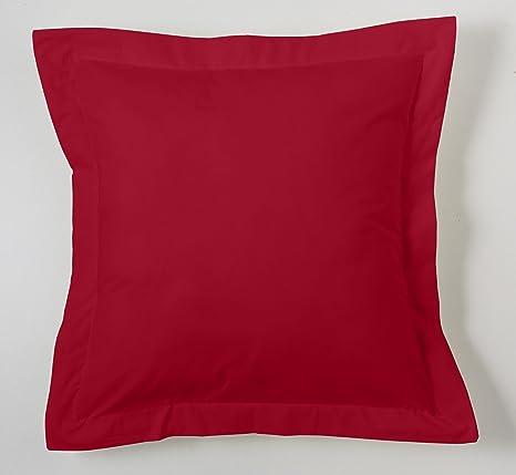 ESTELA - Funda de cojín Combi Lisos Color Burdeos - Medidas 55x55+5 cm. - 50% Algodón-50% Poliéster - 144 Hilos - Acabado en pestaña