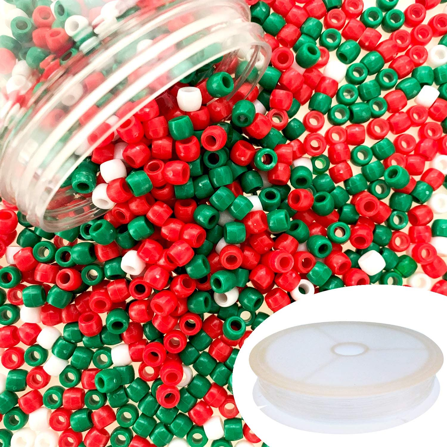 Red and Green Lixieym 1200 Pieces Christmas Pony Beads Plastic Beads Craft Beads for Christmas DIY Craft Making