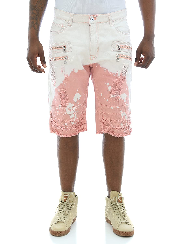 Smoke Rise Men's Twill Bleached Shorts W/Zipper Trim JS7116