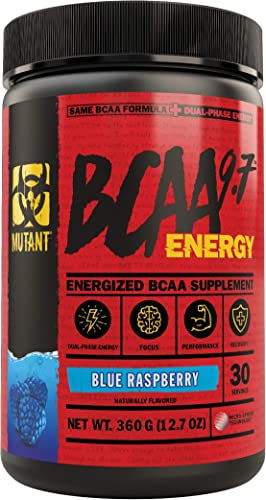 Mutant BCAA 9.7 Energy Powder with Branched-Chain Amino Acids, Electrolytes and Dual-Phase Caffeine for Unstoppable Energy with no Crash. Blue Raspberry 360g