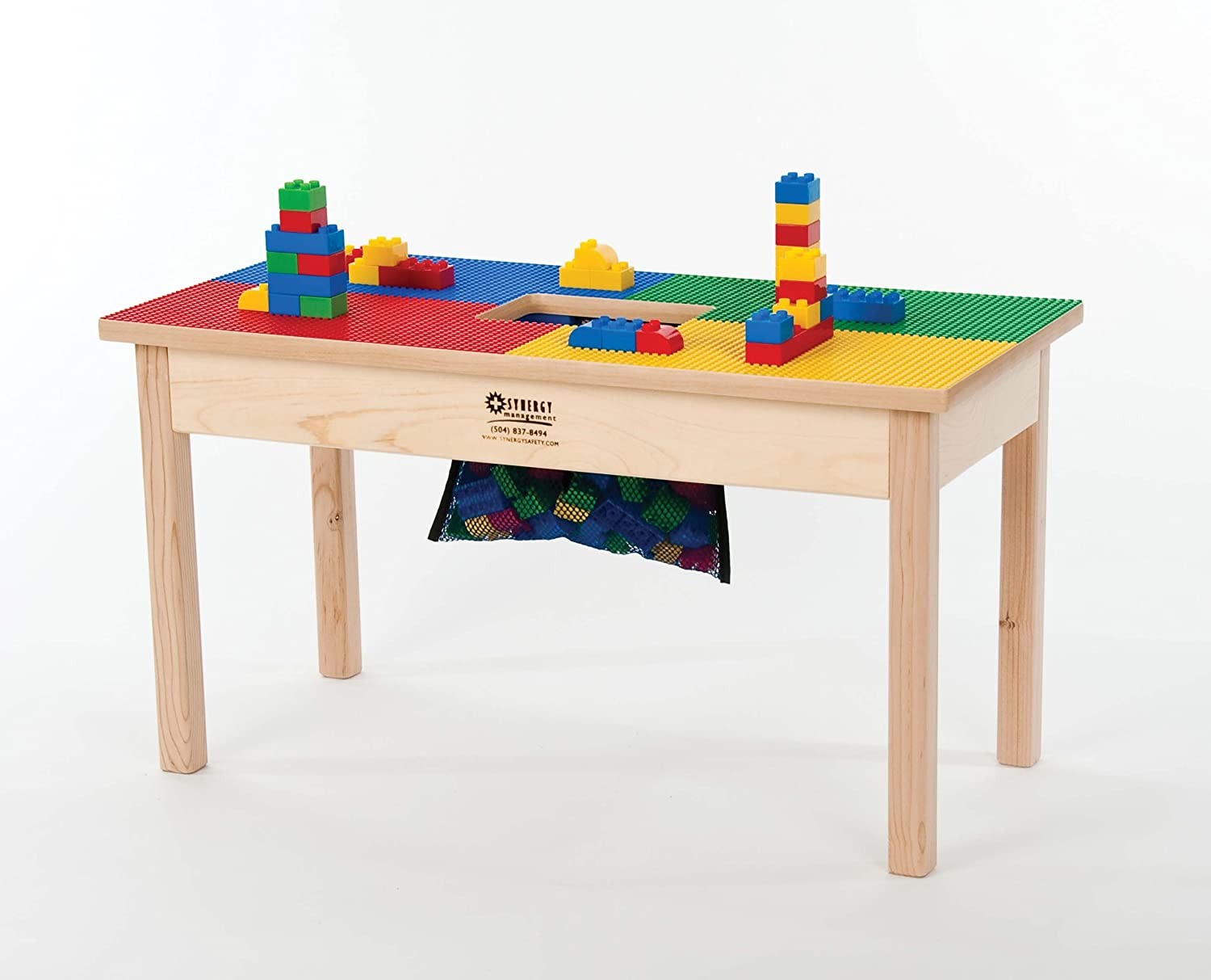 HEAVY DUTY DUPLO COMPATIBLE BLOCK TABLE with Built-in Lego Storage(patent)-32 x 16--MADE IN USA! PREASSEMBLED-Deluxe Series-Solid Hardwood Legs & Frame-BUILT TO LAST -AGES 1 TO 5 Playcenter Authority BTS 16 LG