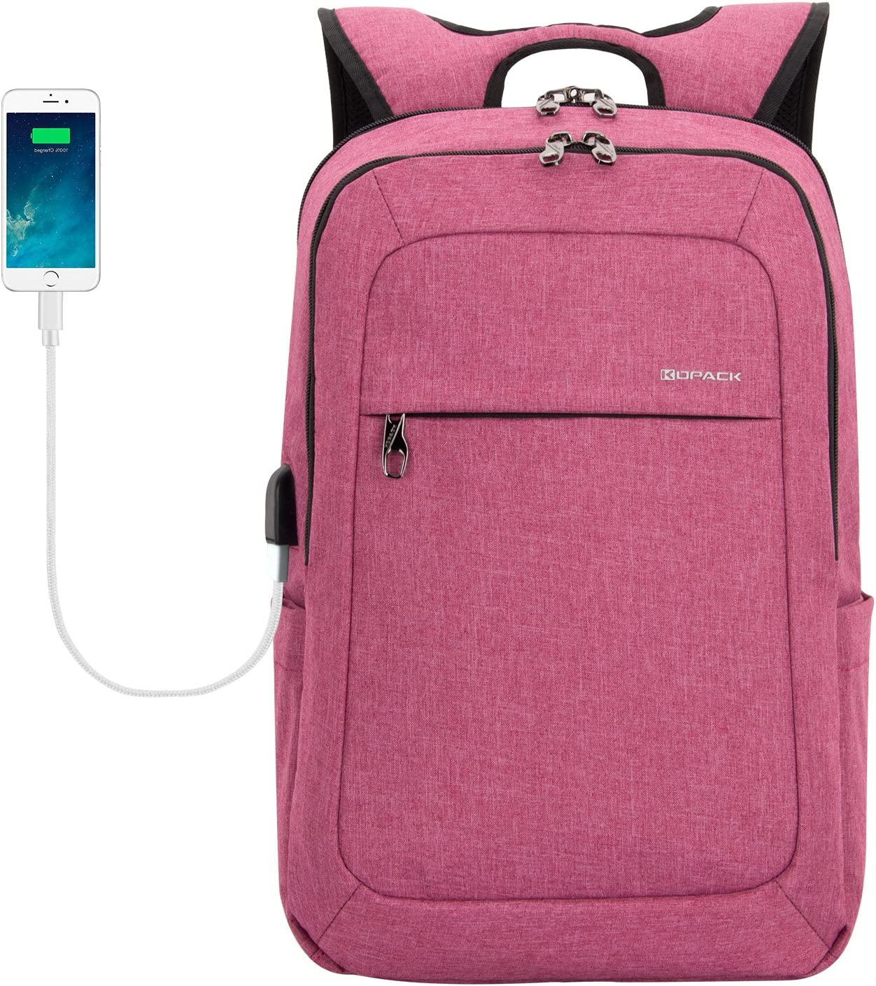 KOPACK Women Laptop Backpack College USB Charging Port Anti Theft Laptop Compartment 15.6 Inch Laptop Bag Magenta